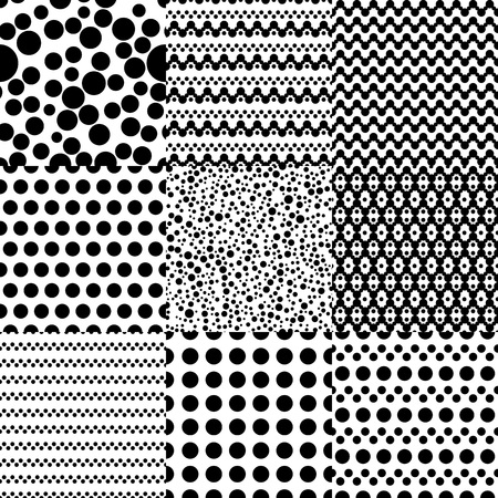 black background abstract: Set of 9 abstract geometric patterns with circles. Fantasy classic black and white seamless wallpaper. Vector illustration.Simple background with geometric shapes. Confetti, polka dot, chevron, zigzag Illustration