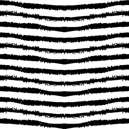 Monochrome seamless pattern made with ink. Modern design. Black and white hipster background with grungy stripes. Vector illustration. Freehand texture. Vectores