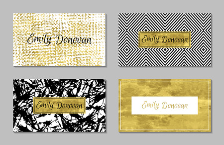 text: Set of 4 gold and white business card template or gift cards.  Texture of gold foil. Luxury vector illustration. Easy editable template. Space for  text. Line, confetti. Illustration
