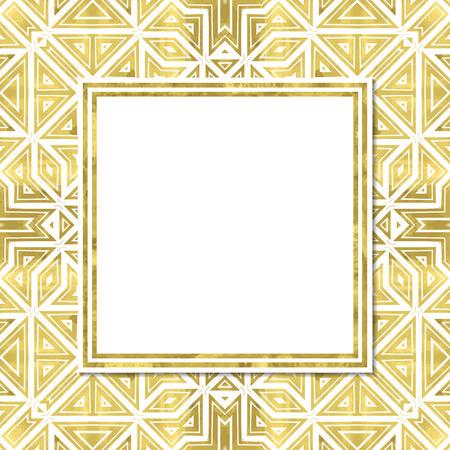cartel moderno abstracto con el modelo de oro geometría, marco y el espacio para el texto. Vector illustration.Shiny cubrir. La textura de la hoja de oro. bandera festivo.