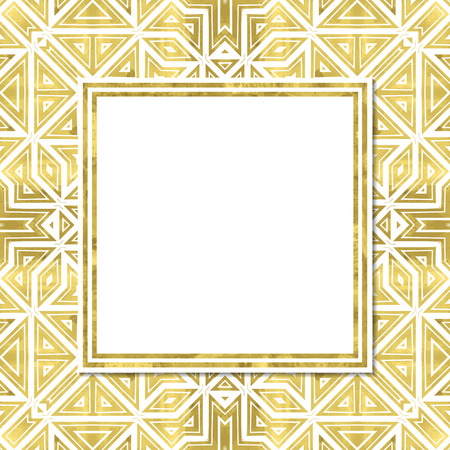 Abstract  modern poster with golden geometry pattern,frame and space for text.  Vector illustration.Shiny cover. Texture of gold foil. Festive banner.