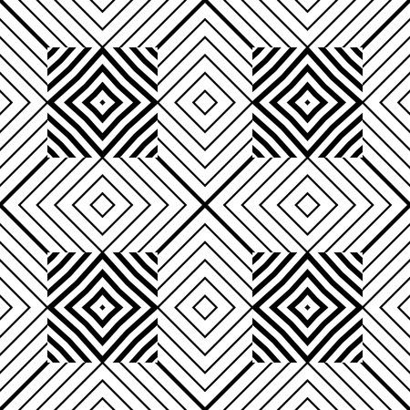 Patrones geométricos abstractos. Papel pintado inconsútil blanco y negro moderno. Ilustración del vector. Fondo monocromático de fantasía con formas geométricas.