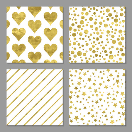 Set of 4 abstract bright golden cards with cofetti, stars, stripes and hearts. Vector illustration.Shiny background. Texture of gold foil.