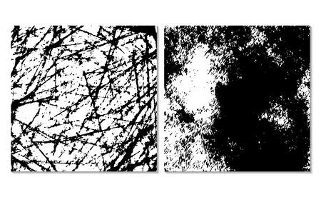 Set van 2 grunge achtergrond textures. Monochrome achtergrond. Gemakkelijk bewerkbare vectorillustratie. Zwart-wit vuile sjabloon. Stock Illustratie