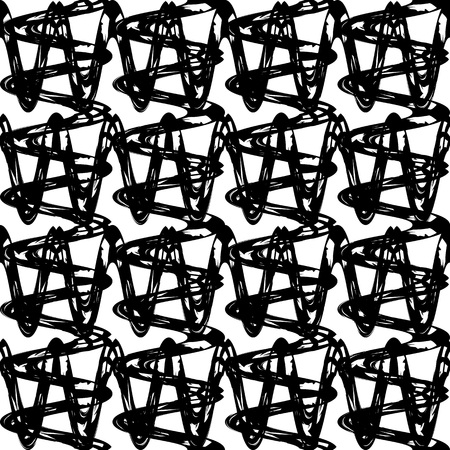 texture fantasy: Fantasy  grid seamless pattern made with ink. Modern design.Black and white hipster  background with grungy zigzag stripes. Vector illustration. Freehand texture. Artistic  wallpaper.