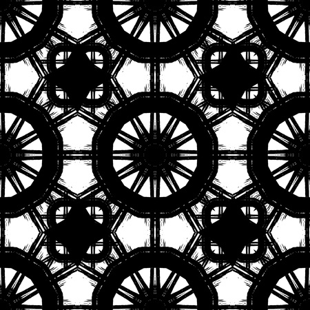 imprints: Abstract seamless pattern. Black and white background  made with ink.Vector illustration.Monochrome modern backdrop.