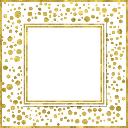 Abstract  modern poster with golden confetti, golden frame and space for text.  Vector illustration.Shiny cover. Texture of gold foil. Festive banner. 免版税图像 - 55700502