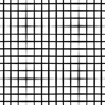 Abstract geometric seamless pattern with grid. Simple black and white background.Vector illustration. Monochrome classic design.