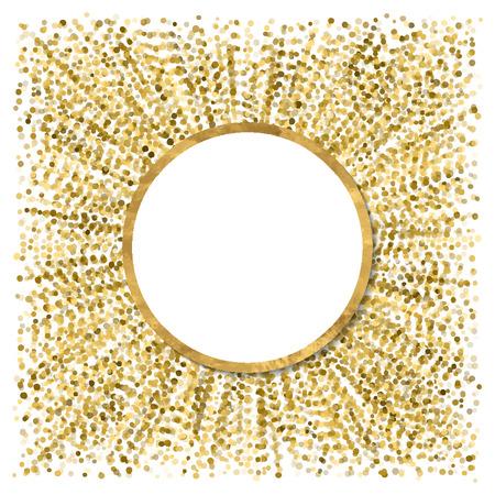 arte abstracto: cartel moderno abstracto con confeti de oro, marco de oro y el espacio para el texto. Vector illustration.Shiny cubrir. bandera de brillo festivo. Vectores