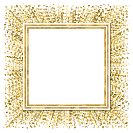 with space for text: Abstract  modern poster with golden confetti, golden frame and space for text.  Vector illustration.Shiny cover.  Festive glitter banner.