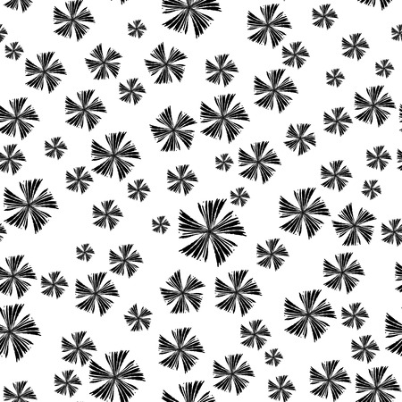 forms: Abstract simple seamless pattern.  Cute  background with black flowers.  Monochrome vector illustration. Illustration
