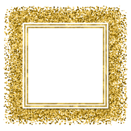 Abstract  modern poster with golden confetti, golden frame and space for text.  Vector illustration.Shiny  glitter cover.  Festive banner.