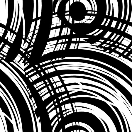 erratic: Fantasy  seamless patterns  with spiral of abstract tangled thread . Monochrome freehand texture. Black and white modern artistic background with destroyed circles lines. Vector illustration.