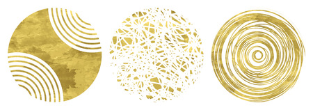 golden frames: Set of 3 golden circles. Hand drawn isolated elements for graphic design. Vector illustration.Art frames or banner. Editable template. Festive shapes on  a white background.