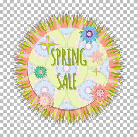 rebate: Bright isolated easy editable frame with cute flowers. Concept design  spring sale  banner, postcard, season sales or other. Vector illustration. Discount, rebate,  clearance sale template. Illustration