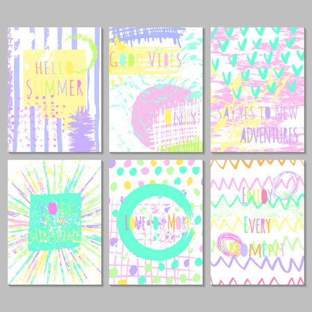 freehand: Set of 6 bright freehand artistic  cards with motivation  quotes .  Universal modern design for journaling card, invitation, brochure. Easy editable vector illustration with hand drawn textures.