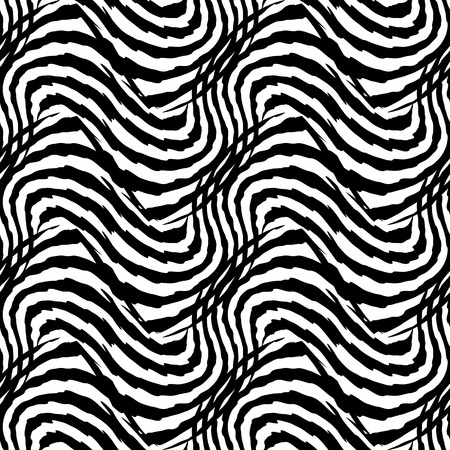 Print design: Seamless animal pattern with abstract print of zebra. Monochrome artistic  vector illustration for textile design. Exotic trendy black and white wrapping.