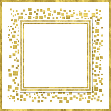 Abstract  modern poster with golden square confetti, golden frame and space for text.  Vector illustration.  Shiny cover. Texture of gold foil. Festive banner.