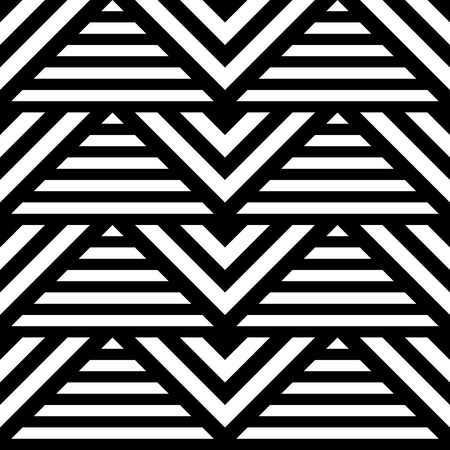 black lines: Seamless classic geometric pattern with abstract triangle and lines. Striped monochrome artistic  vector illustration for design. Simple  black and white  wrapping.