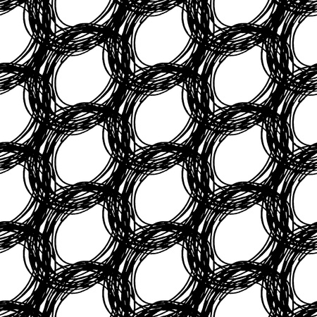 muddle: Black and white seamless pattern with ink grungy grid. Artistic monochrome abstract  background. Modern design. Vector illustration.