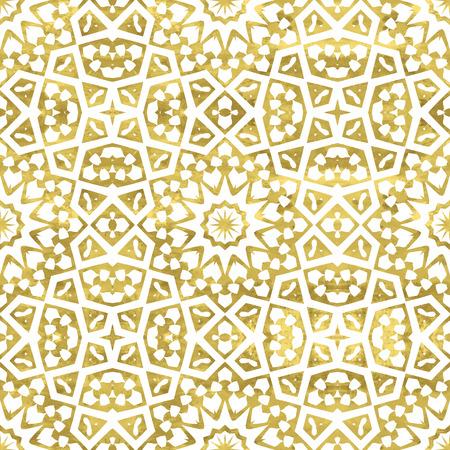 黄金抽象的なアラビア語のシームレスなパターン。 明るい東洋モロッコ背景。ゴールドと白のファンタジーの幾何学的なタイル。イラスト。
