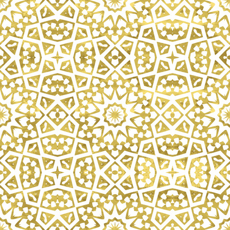 Golden abstract arabic seamless pattern.  Bright  oriental moroccan background. Gold and white fantasy geometric tile. illustration. Vettoriali