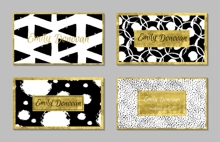 foil: Set of 4 golden business card template or gift cards.  Texture of gold foil. Luxury illustration.Easy editable template. Space for  text. Triangles, confetti, dots, circles. Illustration