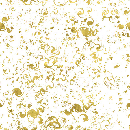 shimmer: Seamless pattern of golden background texture with blots. Bright shimmer  backdrop.Gold and white template. Ink in water illustration.