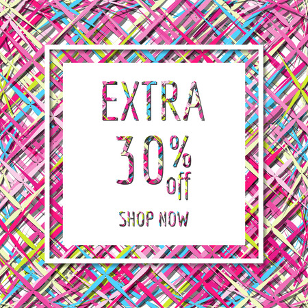 rebate: Bright editable frame with chaotic lines. Concept design  sale  , postcard, season sales or other. illustration. Discount, rebate,  clearance sale template. Illustration