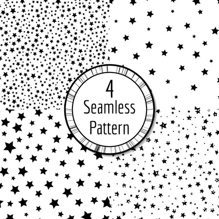 monochrome: Set of 4 various abstract seamless astronomy wallpaper with shiny stars on the night sky. Dark blue background with white stars. illustration. Universal monochrome patterns.