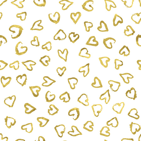 shiny hearts: Romantic seamless pattern with golden print of pretty hearts. Shiny artistic   illustration. Bright glow  glitter and white wrapping.
