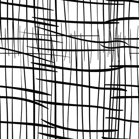 seamless in bianco e nero con griglia sgangherata. Monocromatico astratto con linee distrutte. Design moderno pantaloni a vita bassa. Vettoriali