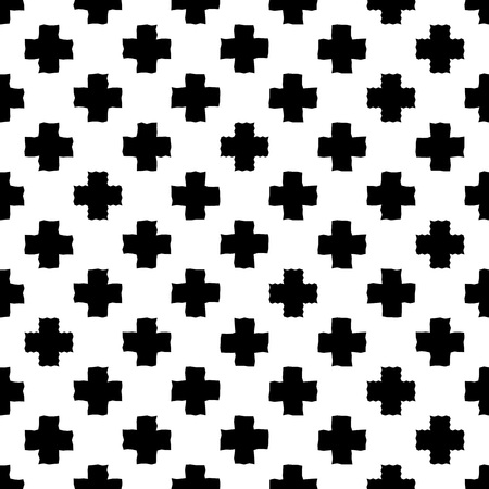 destroyed: Black and white seamless pattern with print of cross. Monochrome illustration. Simple, easy editable repetition wrapping. Illustration