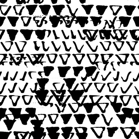 destroyed: Old seamless pattern of grunge background texture with destroyed stamp triangles. Monochrome illustration.
