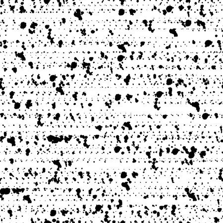 blots: Spotted seamless pattern of grunge background texture with destroyed shapes. Monochrome backdrop. Black and white  dirty template. Grunge confetti. Illustration