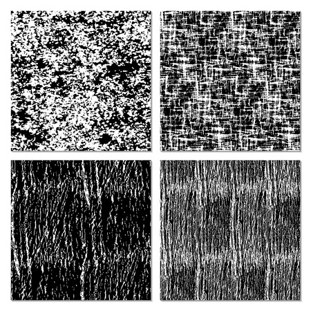textured backgrounds: Set of 4 black and white  backgrounds with grungy textured. Monochrome  abstract seamless pattern. Modern design.