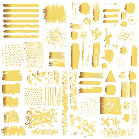 Vector set di pennellate d'oro. elementi isolati modificabili. pennelli lucidi grunge, banner per il vostro disegno. A mano libera. Acquerello spruzzi. timbro acrilico.