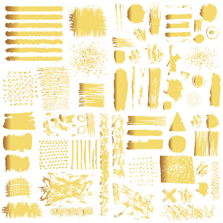 brush: Vector set of gold brush strokes. Editable isolated elements. Grunge shiny brushes, banners for your design. Freehand. Watercolor splash. Acrylic stamp.
