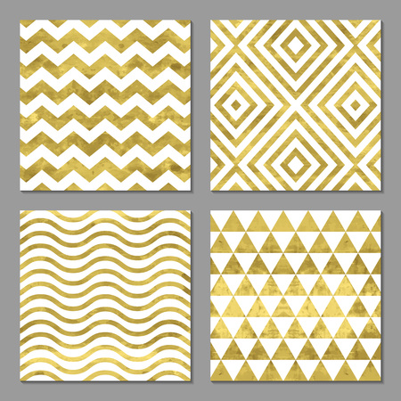 Set of 4  abstract bright  golden cards, template or invitation with triangle, zigzag, chevron, stripe and rhombus. Vector illustration. Shiny background. Texture of gold foil.