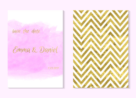Set of 2 pink and gold invitation card, wedding invitation, greeting card or postcards. Place for your text. Classic chevron. Art watercolor pink stain. Vector editable template. Abstract background. Иллюстрация