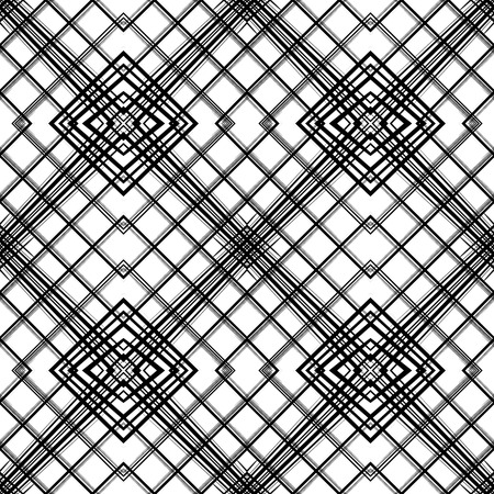 Abstract geometric seamless pattern.  Monochrome  background with rhombs and lines.  Black and white fantasy geometric tile. Vector illustration.