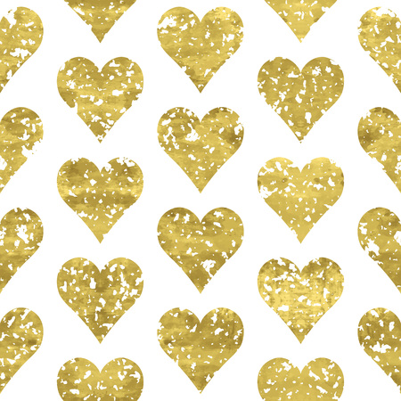 shiny hearts: Gold and white seamless pattern with golden print of  grunge hearts. Shiny  vector illustration. Bright glow glitter hearts and white wrapping. Texture of gold foil.  Festive banner.