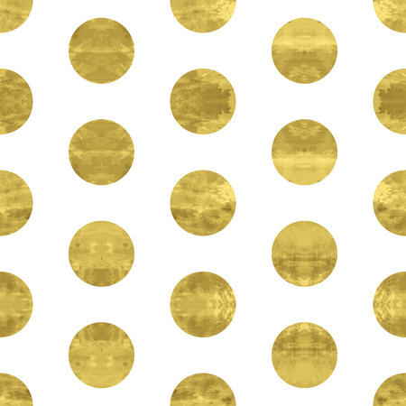 Gold and white seamless pattern with golden circles. Bright confetti  background.  Vector illustration. Shiny splash cover. Texture of gold foil. Festive banner.