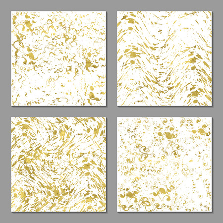 paint splash: Set of 4  abstract bright  golden cards, poster, template or invitation with sparkle splash. Vector illustration. Shiny background. Texture of gold foil.