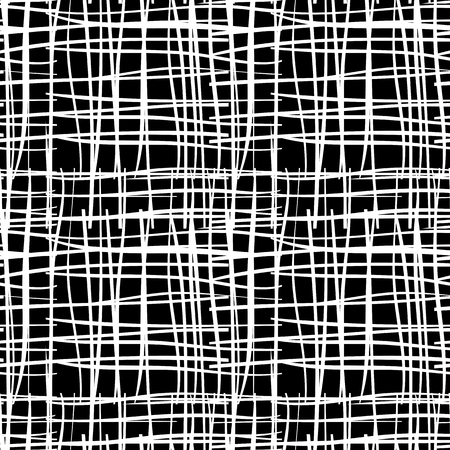 Black and white seamless pattern  with grungy grid. Monochrome abstract background with destroyed lines. Modern hipster design. Vector illustration.