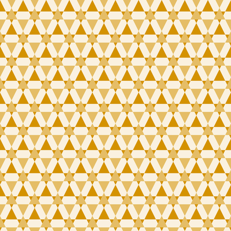 Festive seamless pattern with abstract stars and triangles.  Creative vector illustration. Bright yellow color.  Light modern background. Monochrome backdrop. Illustration