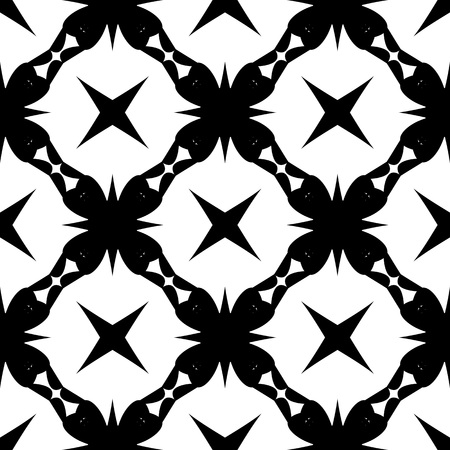 Abstract  retro  seamless pattern with  lace and cross. Vintage  mexico black and white background.Vector illustration. Monochrome classic design.
