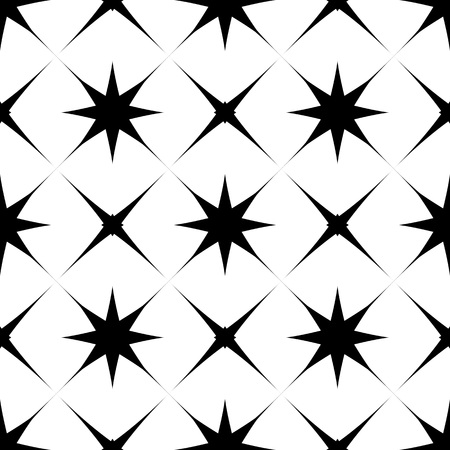 Abstract  seamless pattern with cross and stars. Geometric siimple black and white background.  Monochrome classic design vector illustration.  イラスト・ベクター素材
