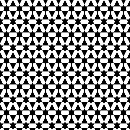 Simple seamless pattern with abstract stars and triangles. Creative vector illustration. Black and white colors.  Modern background. Monochrome backdrop.