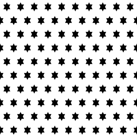 Abstract modern seamless pattern with symmetric stars of David. Vector illustration. Black and white background. Monochrome design.